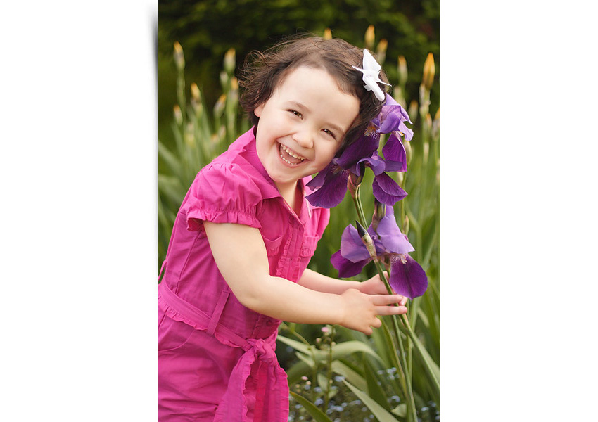 Portrait of three year old girl in a pink jumper playing with purple flowers in the garden. Shot in Markham Ontario by Hilary Beaumont of Lunaria Photography.
