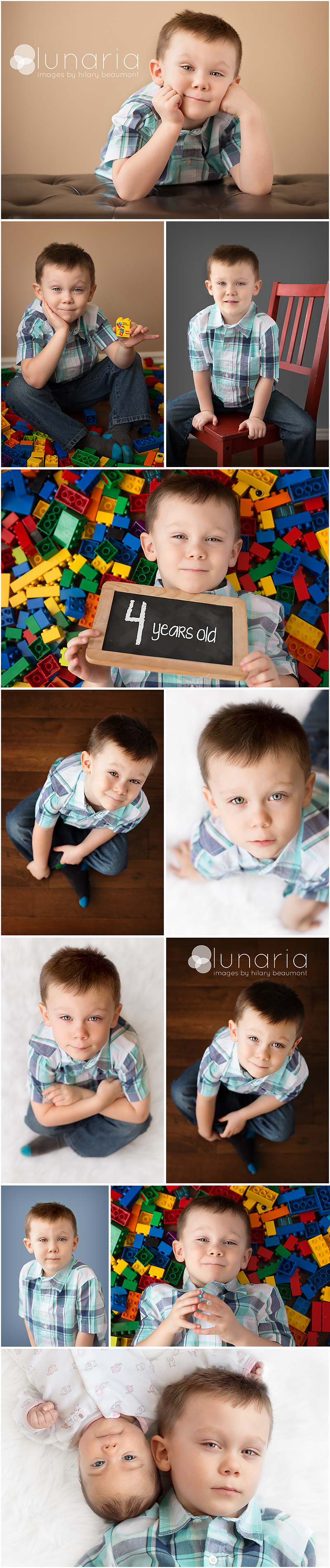 Fourth birthday photography shoot including poses with hardwood floor, Duplo blocks, and white fur rug.  Photos by Hilary Beaumont of Lunaria Photography in Whitby.